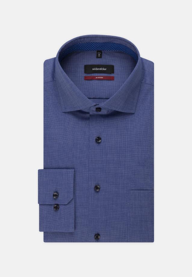 Bügelfreies Fil a fil Business Hemd in Modern mit Kentkragen und extra langem Arm in mittelblau |  Seidensticker Onlineshop
