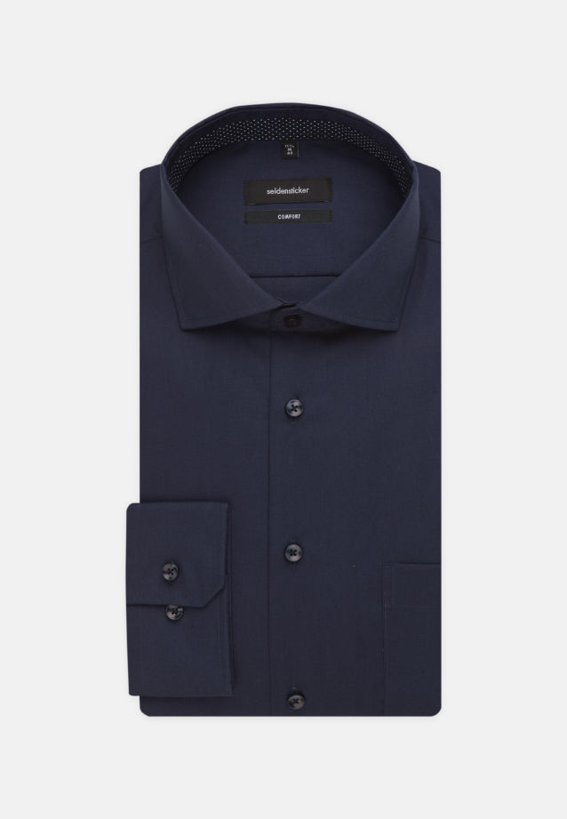 Non-iron Fil a fil Business Shirt in Comfort with Kent-Collar in Dark blue |  Seidensticker Onlineshop