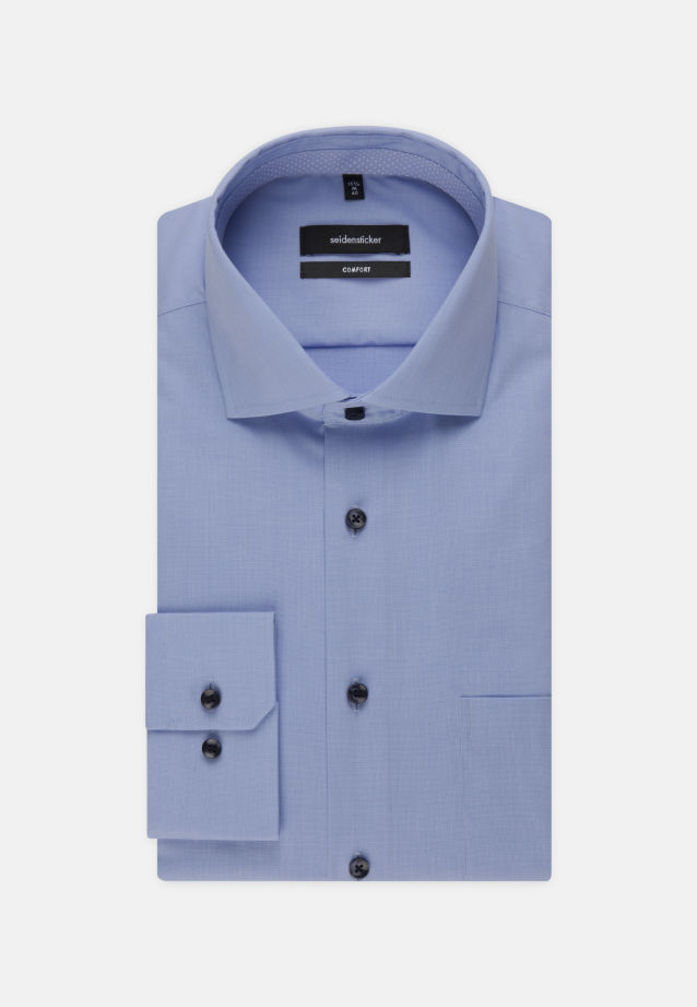 Non-iron Fil a fil Business Shirt in Comfort with Kent-Collar in Light blue |  Seidensticker Onlineshop