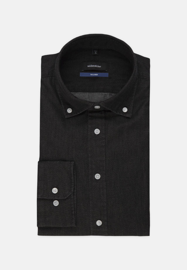 Bügelleichtes Denim Business Hemd in Shaped mit Button-Down-Kragen in Schwarz |  Seidensticker Onlineshop