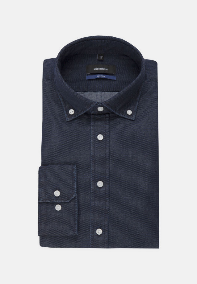 Bügelleichtes Denim Business Hemd in Shaped mit Button-Down-Kragen in Dunkelblau |  Seidensticker Onlineshop