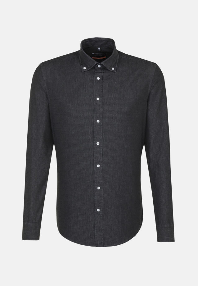Bügelleichtes Denim Business Hemd in Slim mit Button-Down-Kragen in Schwarz |  Seidensticker Onlineshop