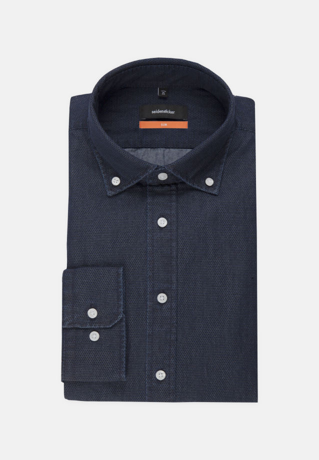 Easy-iron Denim Business Shirt in Slim with Button-Down-Collar in Dark blue |  Seidensticker Onlineshop