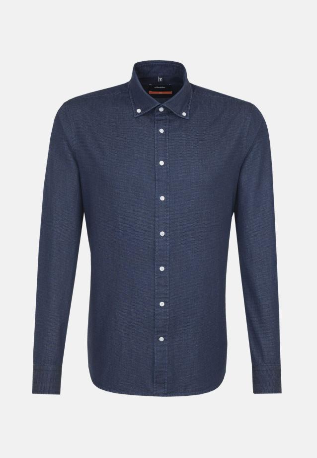 Bügelleichtes Denim Business Hemd in Slim mit Button-Down-Kragen in blau |  Seidensticker Onlineshop