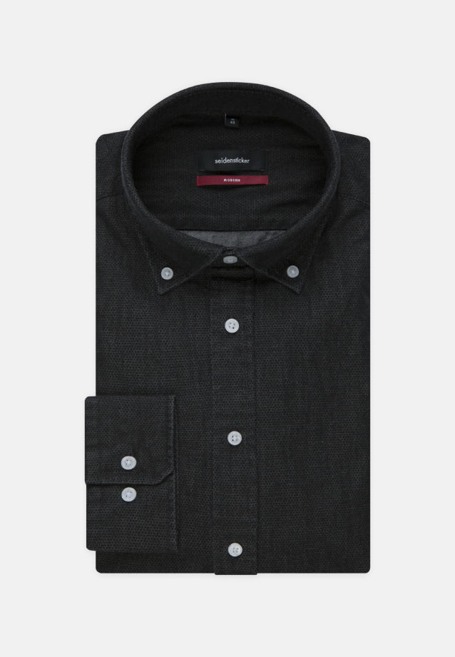 Bügelleichtes Denim Business Hemd in Regular mit Button-Down-Kragen in Schwarz |  Seidensticker Onlineshop