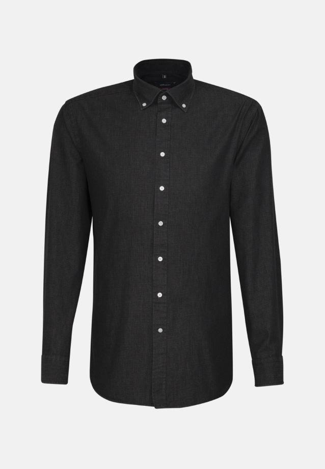 Bügelleichtes Denim Business Hemd in Modern mit Button-Down-Kragen in Schwarz |  Seidensticker Onlineshop