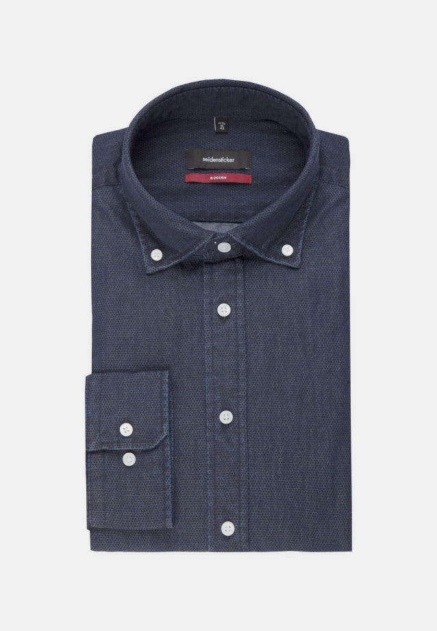 Easy-iron Denim Business Shirt in Regular with Button-Down-Collar in Dark blue |  Seidensticker Onlineshop