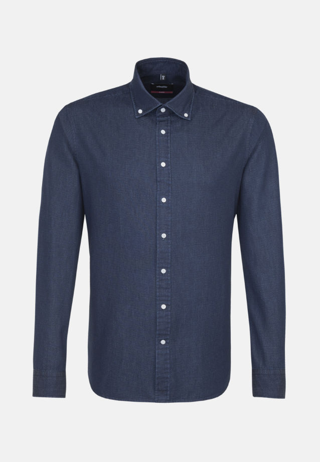 Bügelleichtes Denim Business Hemd in Modern mit Button-Down-Kragen in Dunkelblau |  Seidensticker Onlineshop