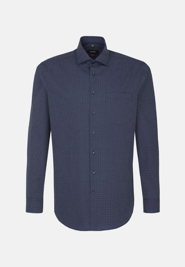 Bügelleichtes Popeline Business Hemd in Modern mit Kentkragen und extra langem Arm in Dunkelblau |  Seidensticker Onlineshop