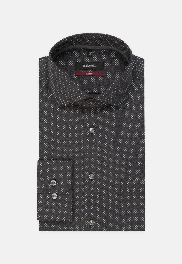 Bügelleichtes Popeline Business Hemd in Modern mit Kentkragen in schwarz |  Seidensticker Onlineshop