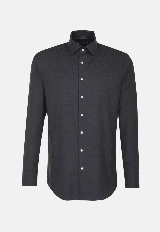 Bügelleichtes Struktur Business Hemd in Comfort mit Kentkragen in schwarz    Seidensticker Onlineshop
