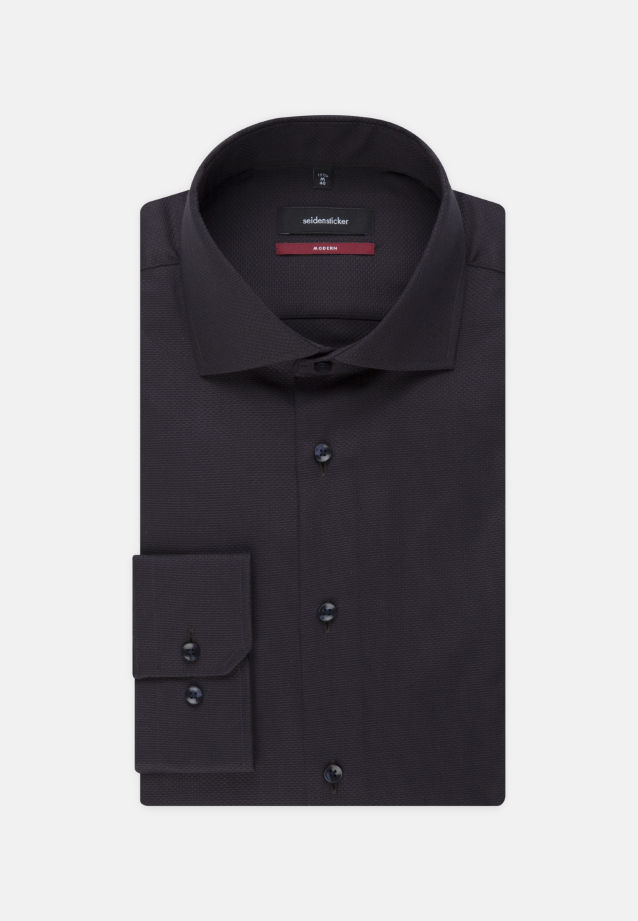 Easy-iron Structure Business Shirt in Regular with Kent-Collar in Black |  Seidensticker Onlineshop