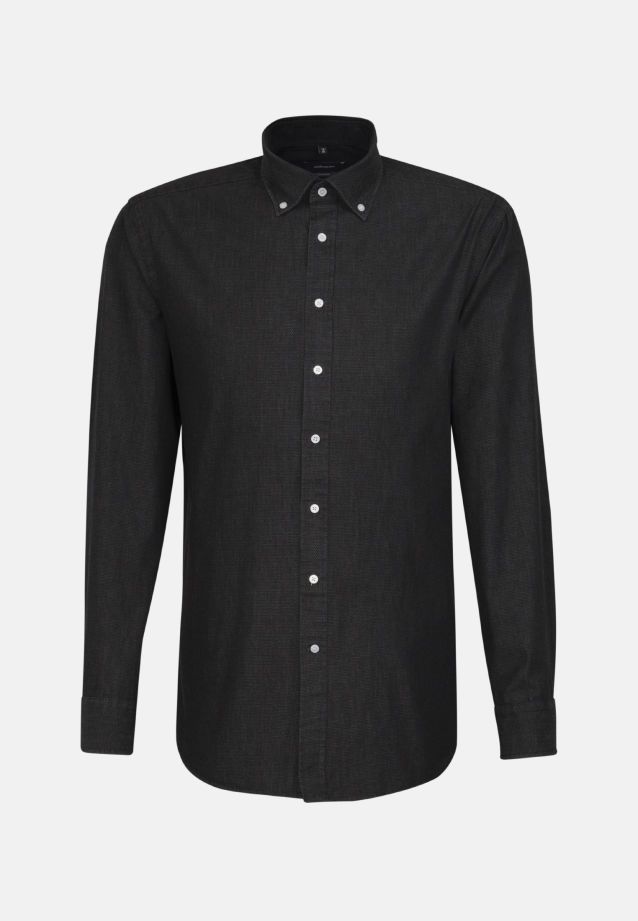 Bügelleichtes Denim Business Hemd in Comfort mit Button-Down-Kragen in Schwarz |  Seidensticker Onlineshop