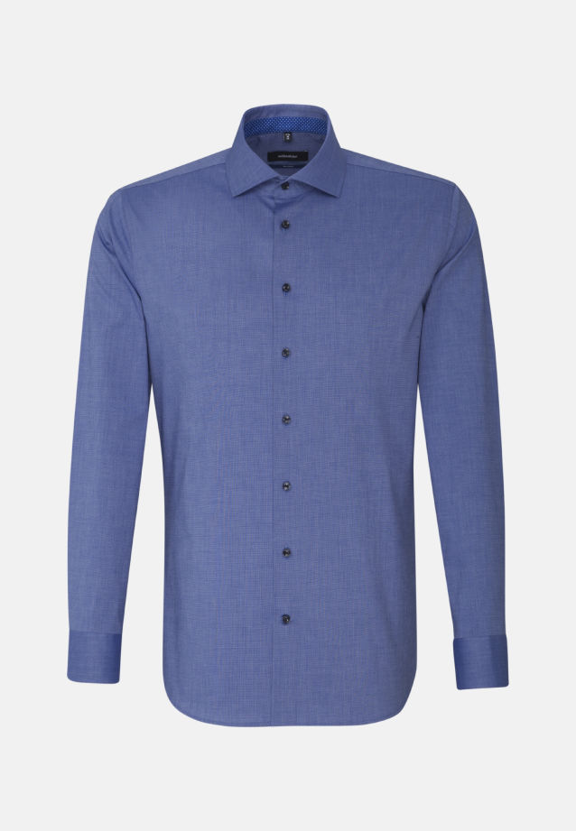 Non-iron Fil a fil Business Shirt in Shaped with Kent-Collar and extra long arm in Medium blue |  Seidensticker Onlineshop