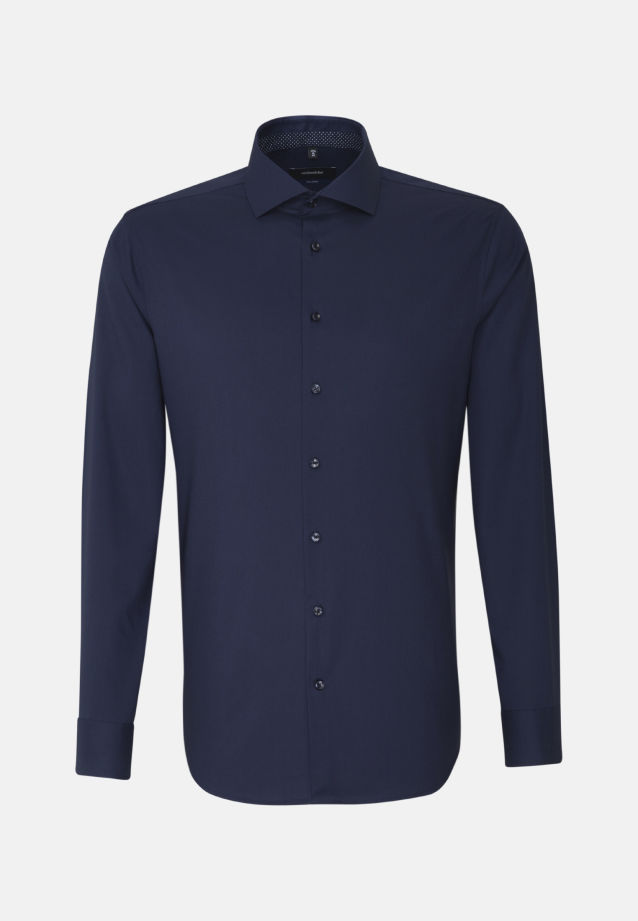 Non-iron Fil a fil Business Shirt in Shaped with Kent-Collar and extra long arm in Dark blue |  Seidensticker Onlineshop