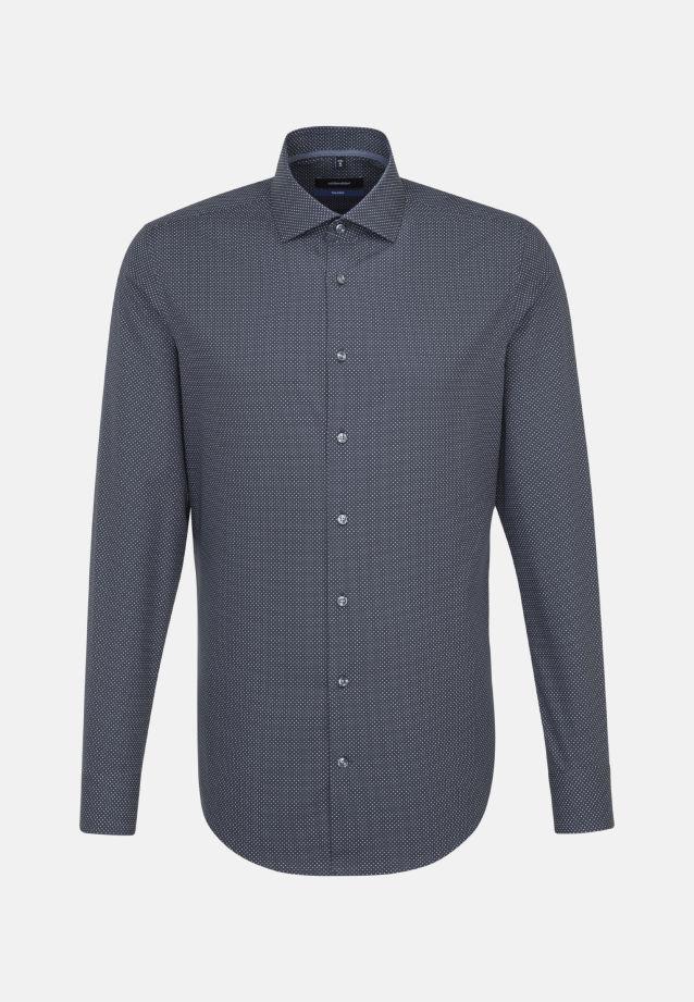 Bügelleichtes Popeline Business Hemd in Shaped mit Kentkragen und extra langem Arm in Grau |  Seidensticker Onlineshop
