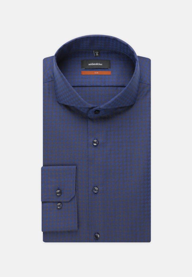 Bügelleichtes Hahnentritt Business Hemd in Slim mit Haifischkragen in blau |  Seidensticker Onlineshop