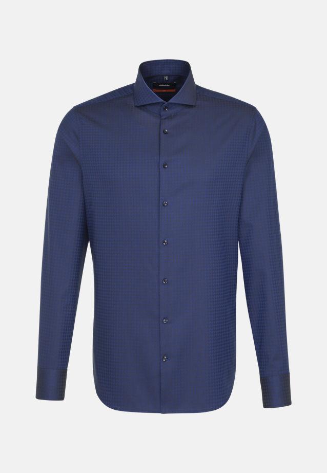 Bügelleichtes Hahnentritt Business Hemd in Slim mit Haifischkragen in Mittelblau |  Seidensticker Onlineshop