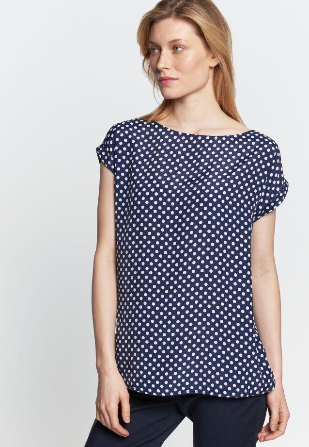 Sleeveless Voile Shirt Blouse made of 100% Viskose in marine-weiß |  Seidensticker Onlineshop