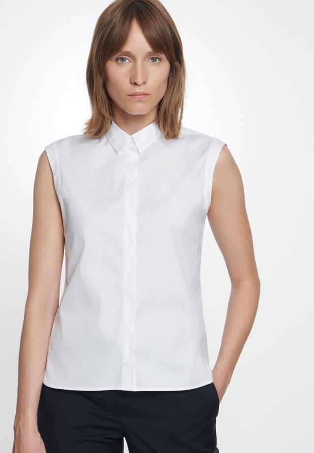 Sleeveless Poplin Shirt Blouse made of cotton blend in White |  Seidensticker Onlineshop