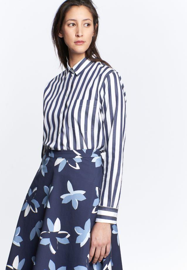 Satin Shirt Blouse made of 100% Cotton in marine |  Seidensticker Onlineshop