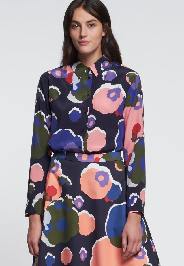 Shirt Blouse made of cupro blend in Dark blue |  Seidensticker Onlineshop