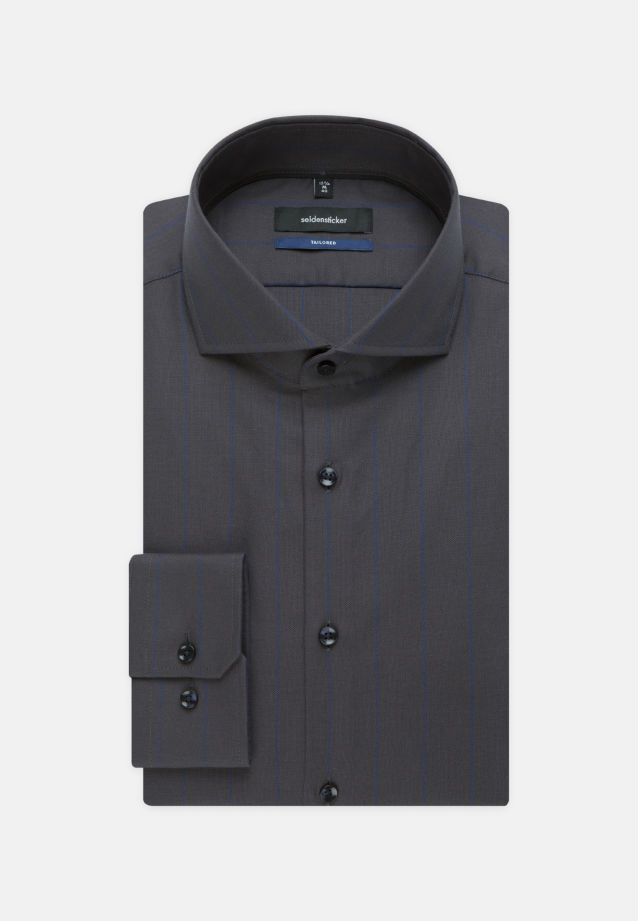 Easy-iron Structure Business Shirt in Shaped with Shark Collar in Dark blue |  Seidensticker Onlineshop