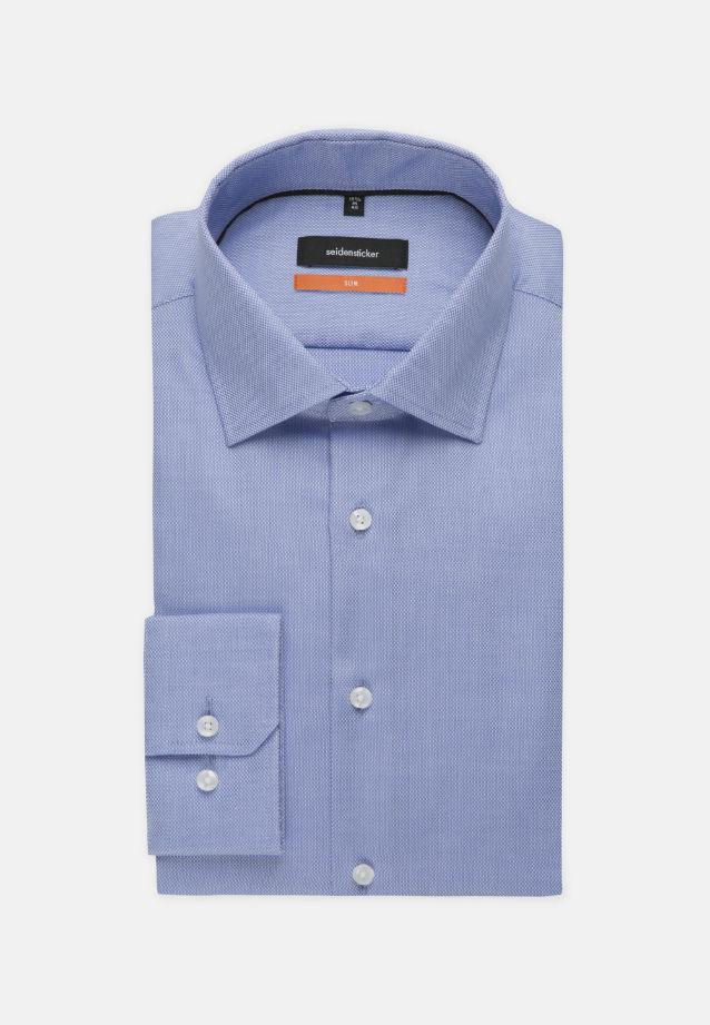 Bügelfreies Struktur Business Hemd in Slim mit Kentkragen und extra langem Arm in mittelblau |  Seidensticker Onlineshop