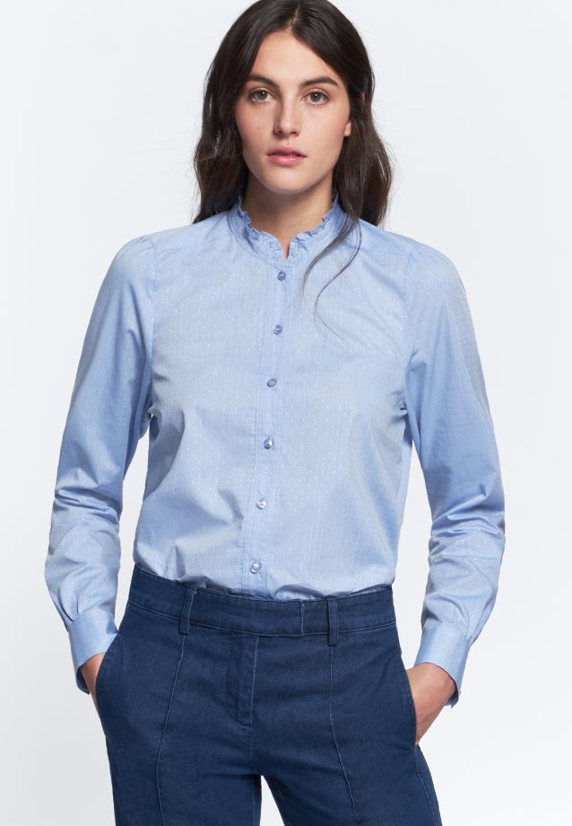 Jacquard Stand-Up Blouse made of 100% Cotton in hellblau |  Seidensticker Onlineshop