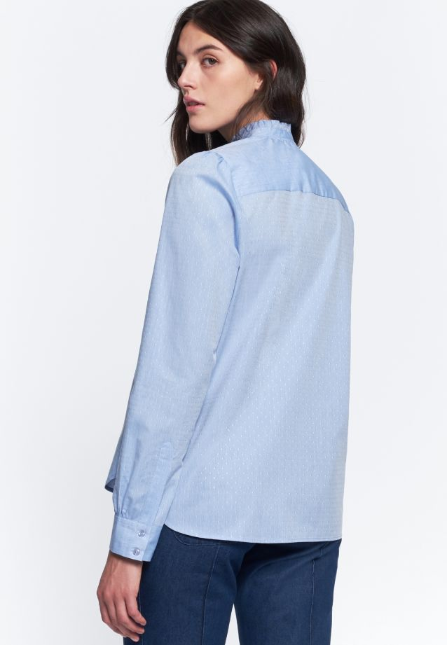 Jacquard Stand-Up Blouse made of 100% Cotton in Light blue |  Seidensticker Onlineshop