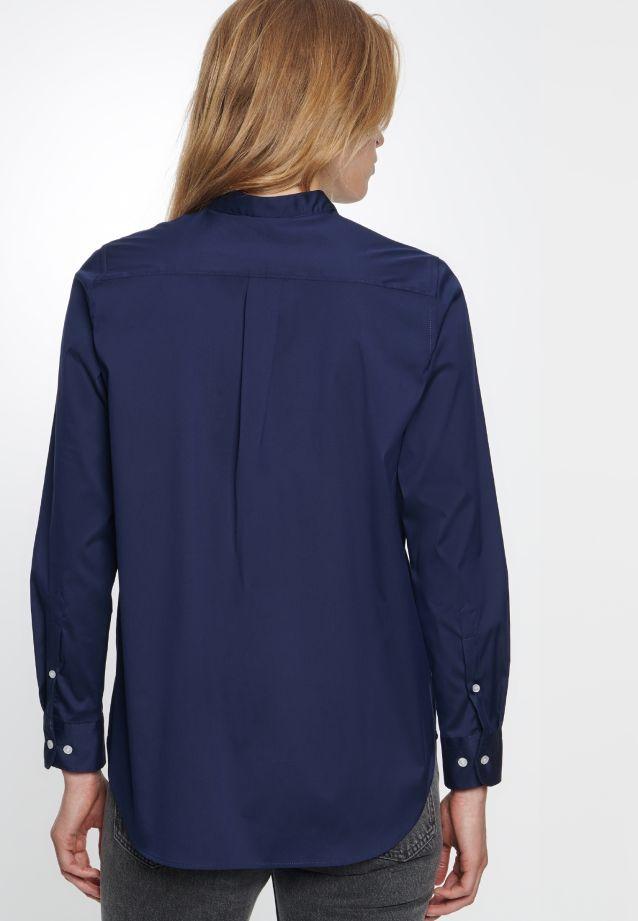 Poplin Stand-Up Blouse made of 75% Cotton 20% Polyamid/Nylon 5% Elastane in Dark blue |  Seidensticker Onlineshop