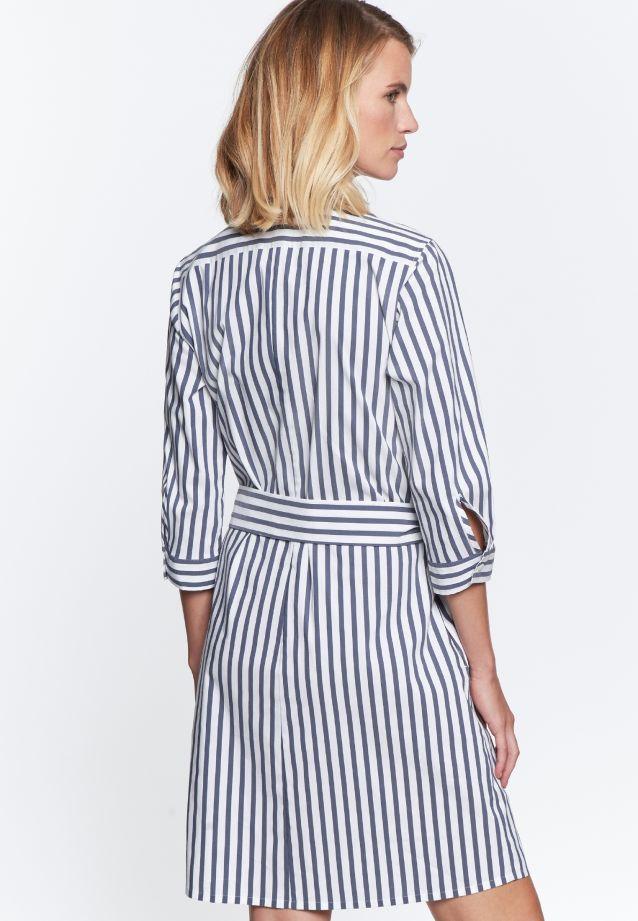 3/4 arm Poplin Dress made of 76% Cotton 22% Polyamid/Nylon 2% Elastane in weiß -blau |  Seidensticker Onlineshop