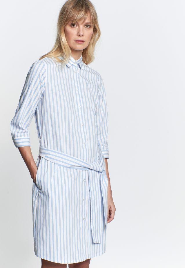 3/4 arm Poplin Dress made of 76% Cotton 22% Polyamid/Nylon 2% Elastane in weiß-hellblau |  Seidensticker Onlineshop