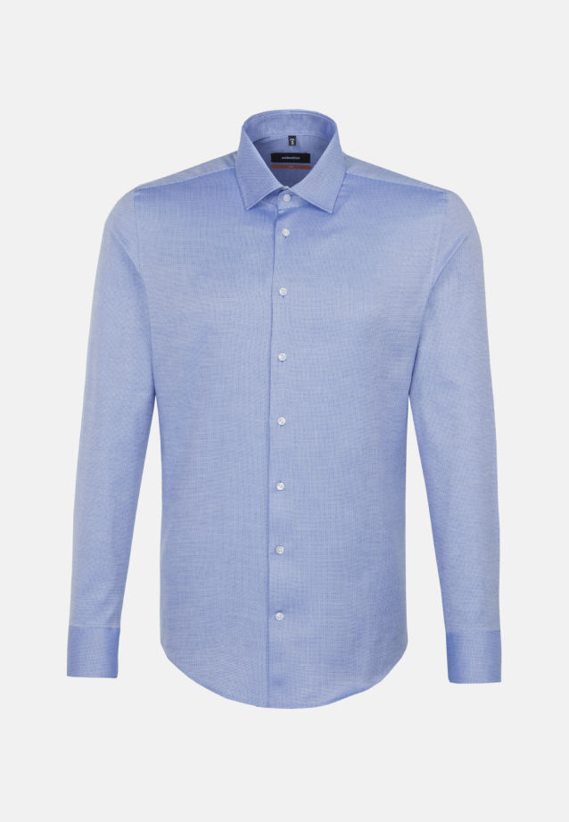 Easy-iron Structure Business Shirt in Slim with Kent-Collar in blau    Seidensticker Onlineshop