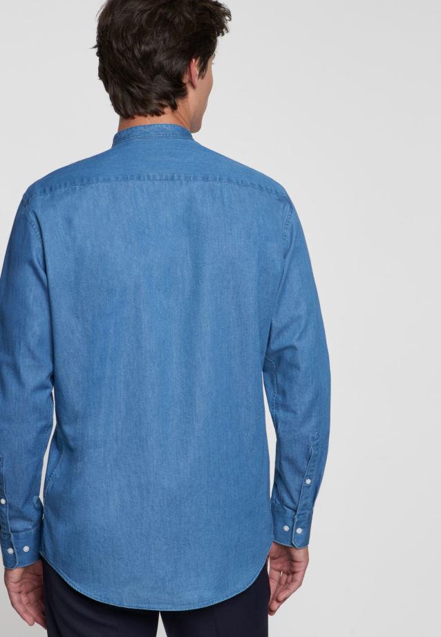 Easy-iron Denim Business Shirt in Slim with Stand-Up Collar in blau    Seidensticker Onlineshop