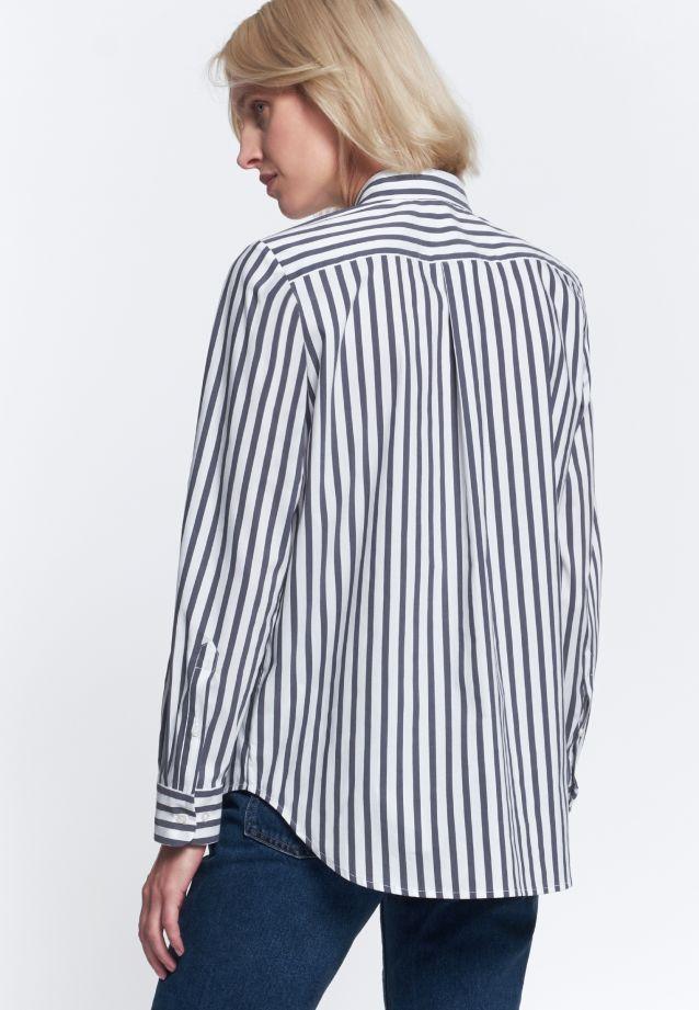 Poplin Shirt Blouse made of 76% Cotton 22% Polyamid/Nylon 2% Elastane in weiß -blau |  Seidensticker Onlineshop