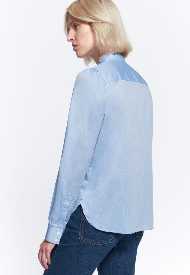 Chambray Stehkragenbluse aus 100% Baumwolle in blau |  Seidensticker Onlineshop