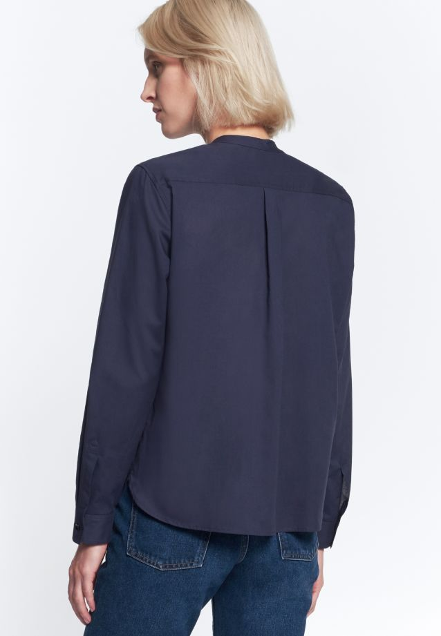 Voile Stand-Up Blouse made of 100% Cotton in Dark blue |  Seidensticker Onlineshop