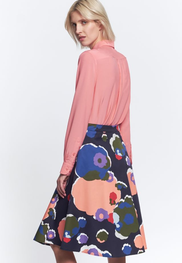 Satin Midi Skirt made of 100% Cotton in Dark blue |  Seidensticker Onlineshop