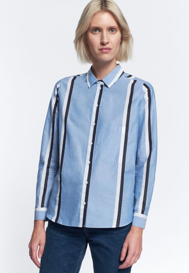 Structure Shirt Blouse made of 100% Cotton in Light blue |  Seidensticker Onlineshop