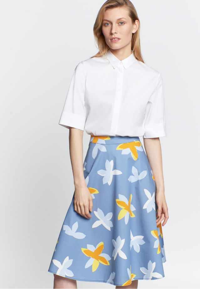 Satin Midi Skirt made of 100% Cotton in Medium blue |  Seidensticker Onlineshop