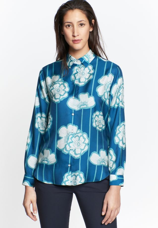 Voile Shirt Blouse made of silk blend in Turquoise |  Seidensticker Onlineshop