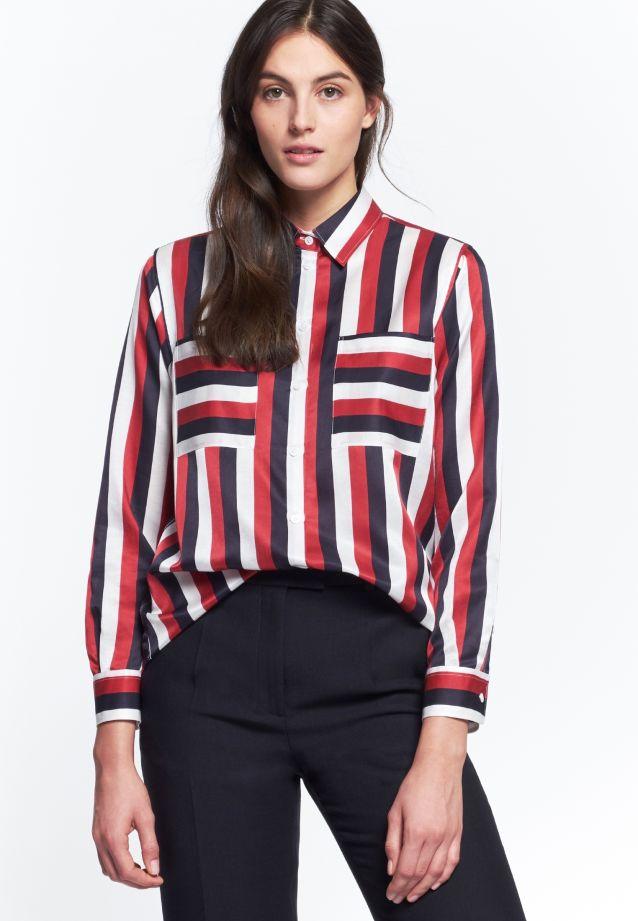 Poplin Shirt Blouse made of 70% Cotton 30% Silk in navy    Seidensticker Onlineshop