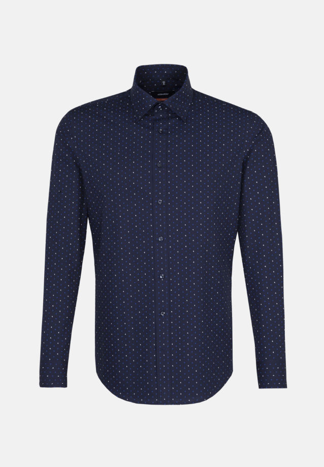 Bügelleichtes Popeline Business Hemd in Slim mit Covered-Button-Down-Kragen in Mittelblau |  Seidensticker Onlineshop