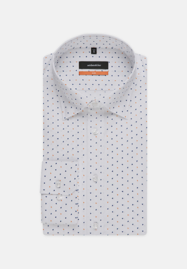 Bügelleichtes Popeline Business Hemd in Slim mit Covered-Button-Down-Kragen in orange |  Seidensticker Onlineshop