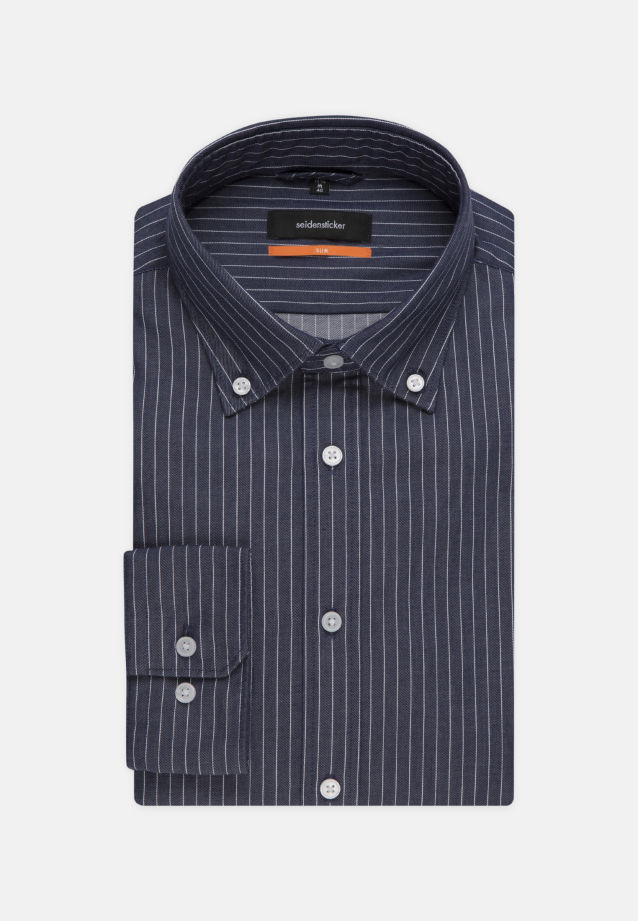 Easy-iron Twill Business Shirt in Slim with Button-Down-Collar in Dark blue |  Seidensticker Onlineshop