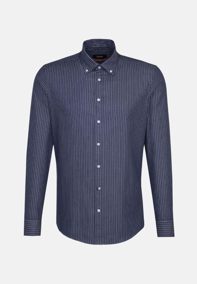 Bügelleichtes Twill Business Hemd in Slim mit Button-Down-Kragen in Dunkelblau |  Seidensticker Onlineshop