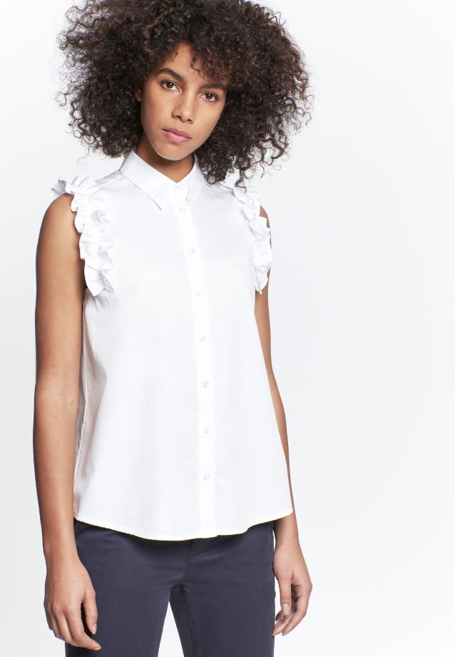Sleeveless Satin Shirt Blouse made of 100% Cotton in White |  Seidensticker Onlineshop