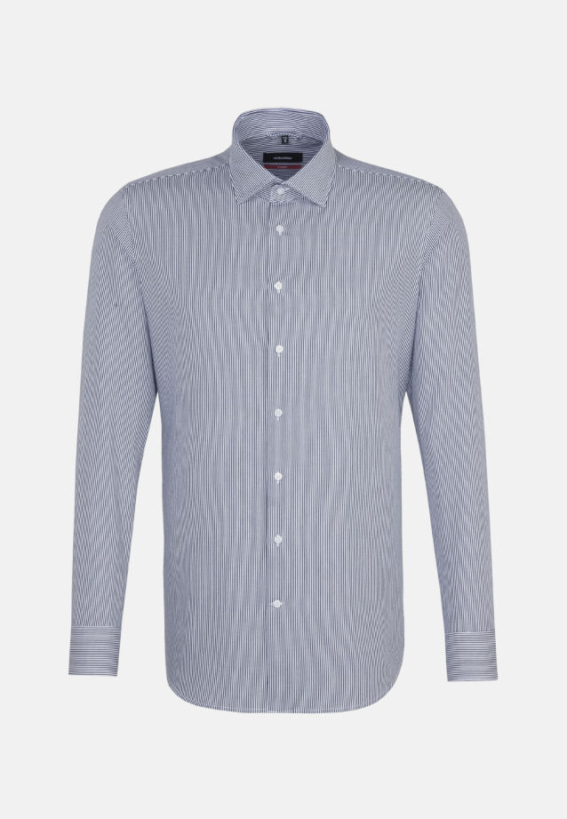 Bügelleichtes Twill Business Hemd in Modern mit Kentkragen in Dunkelblau    Seidensticker Onlineshop
