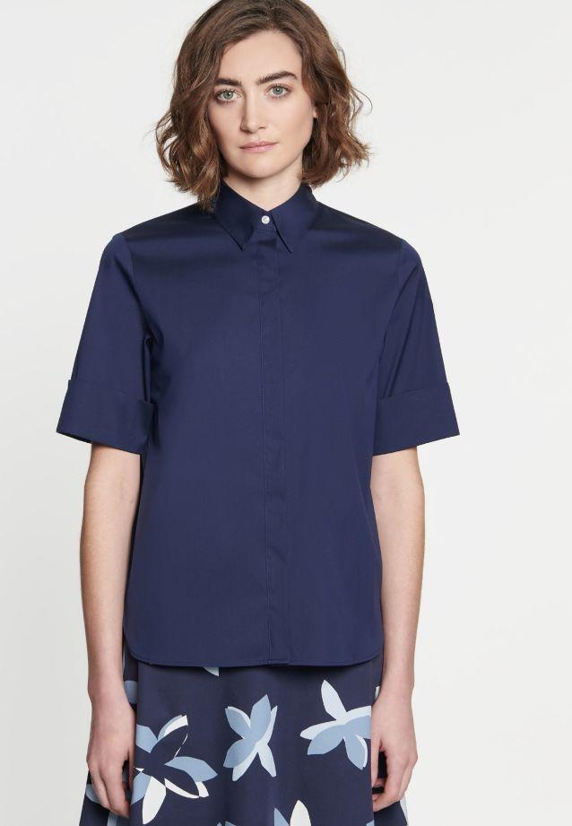 Kurzarm Popeline Hemdbluse aus 75% Baumwolle 20% Polyamid/Nylon 5% Elastan in dunkelblau |  Seidensticker Onlineshop
